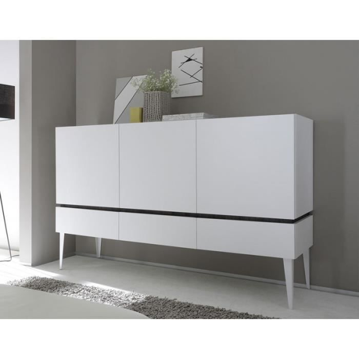 buffet bahut moderne blanc ou gris laqu mat balty gris. Black Bedroom Furniture Sets. Home Design Ideas