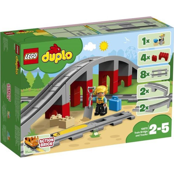 ASSEMBLAGE CONSTRUCTION LEGO® DUPLO® 10872 Les rails et le pont du train -