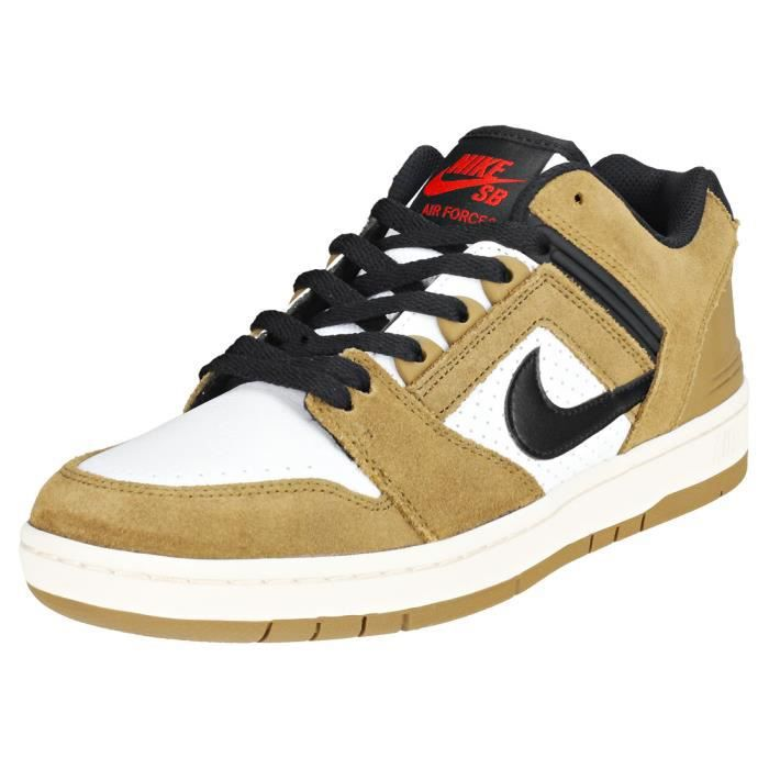 reputable site 3c0be e89e3 BASKET Nike SB Air Force Ii Low Homme Baskets Marron Blan