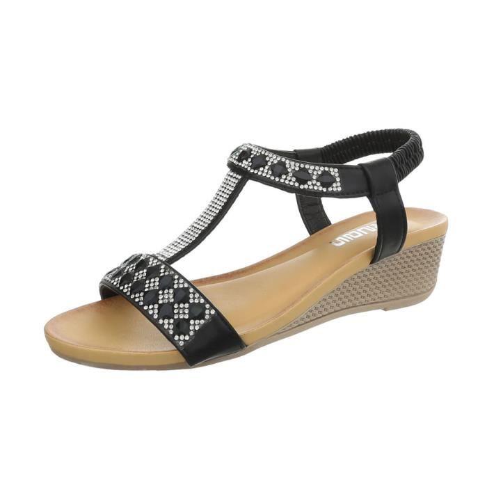 Sandales Chaussures Femme Espadrilles A Talon Compense Chaussures D Ete Compensees Chaussures De Plage A Lanieres Talon No Modele 5 Noir Achat Vente Espadrille Cdiscount