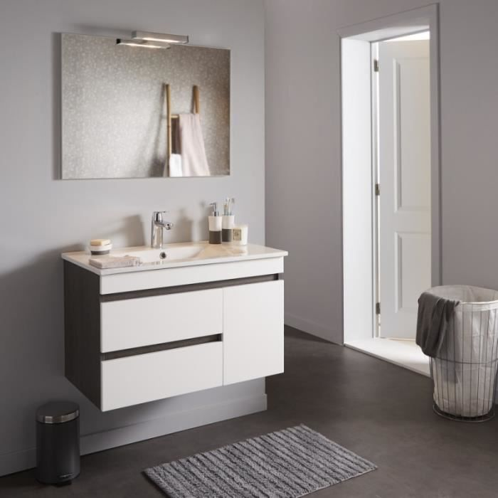 meuble de salle de bain d cor weng avec miroir clairant achat vente meuble bas commode sdb. Black Bedroom Furniture Sets. Home Design Ideas