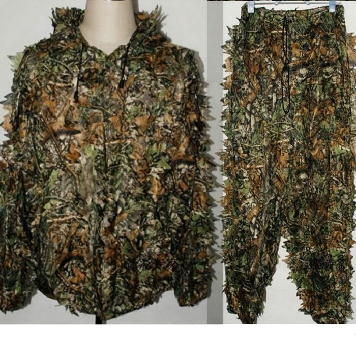suits camouflage feuille ghillie suit woodland camo tenue de camouflage jungle 3d hunting chasse. Black Bedroom Furniture Sets. Home Design Ideas