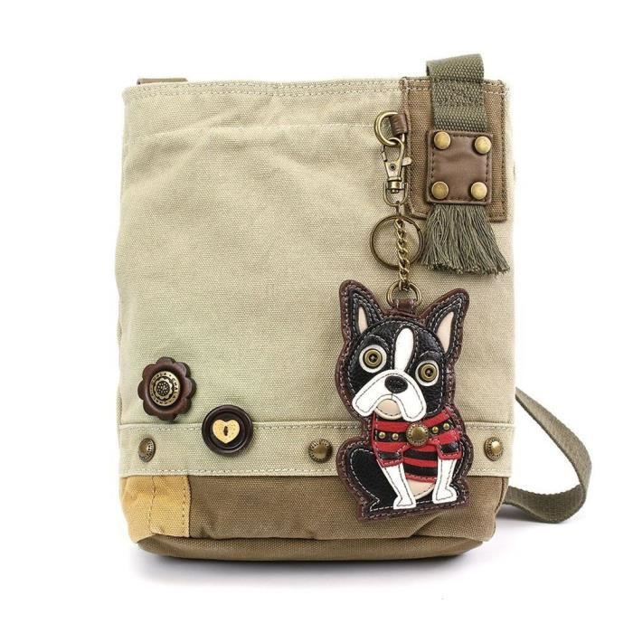 Canvas Patch Sac à bandoulière femmes de Boston Terrier - Sable DRLIS