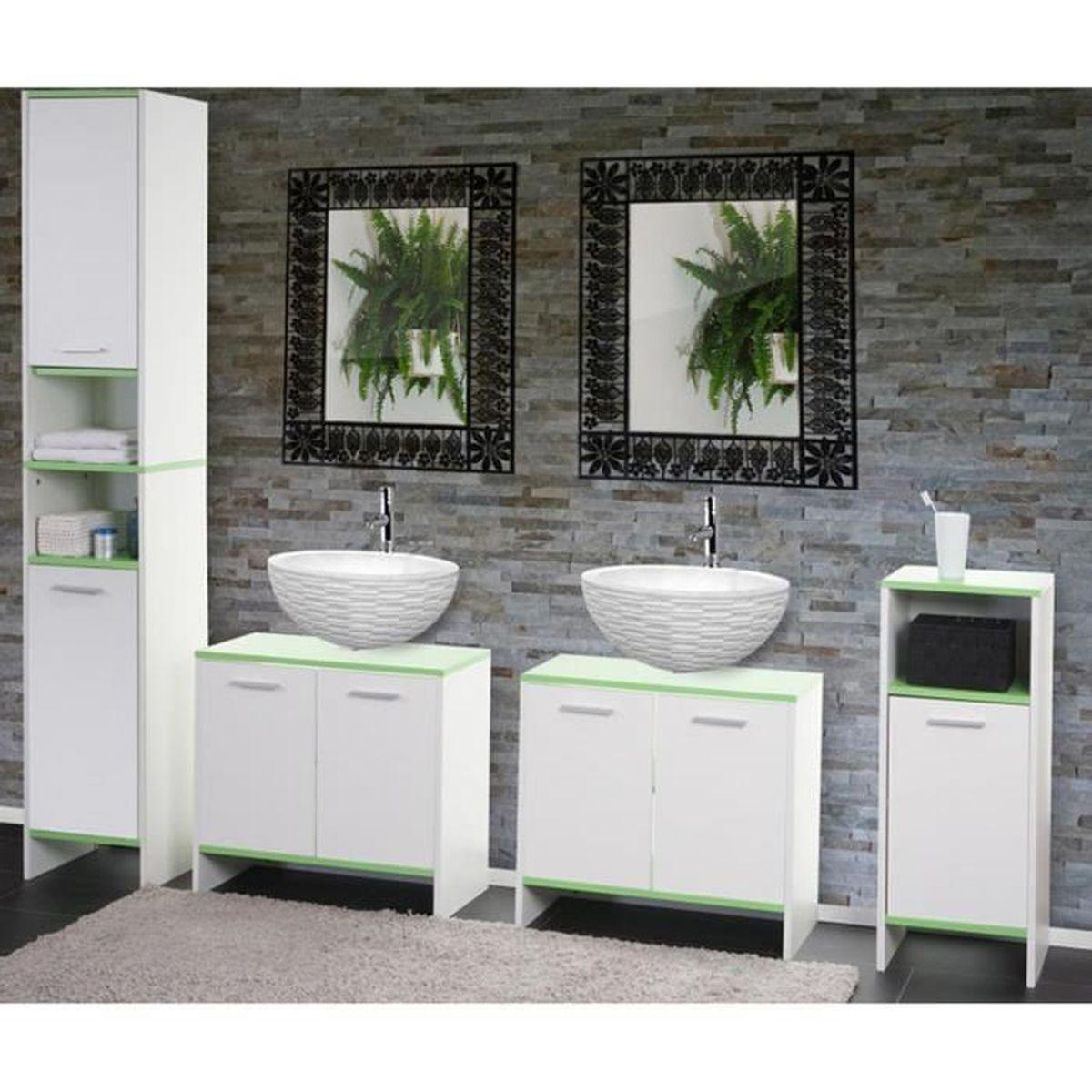 Ensemble de salle de bain en bois coloris vert et blanc ...