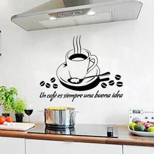 STICKERS Noir Créative Café Stickers muraux pour Cuisine Dé