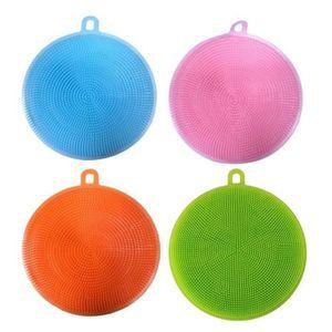 BUFFET DE CUISINE 4pcs Lave-vaisselle en silicone nettoyant éponge n