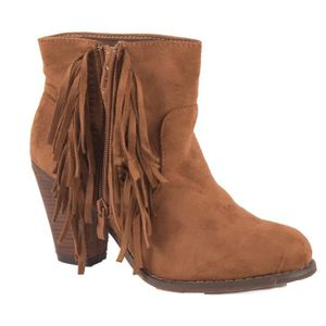 bottines camel talon motif hippie