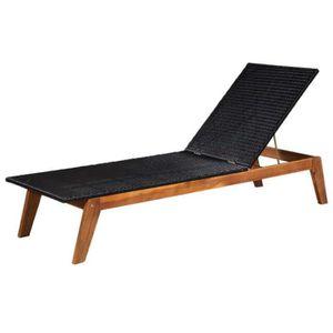 CHAISE LONGUE Chaise longue Résine tressée et bois d'acacia mass