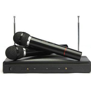 MICROPHONE - ACCESSOIRE 2 Microphones Micro Sans Fil FM Chansons DJ Karaok