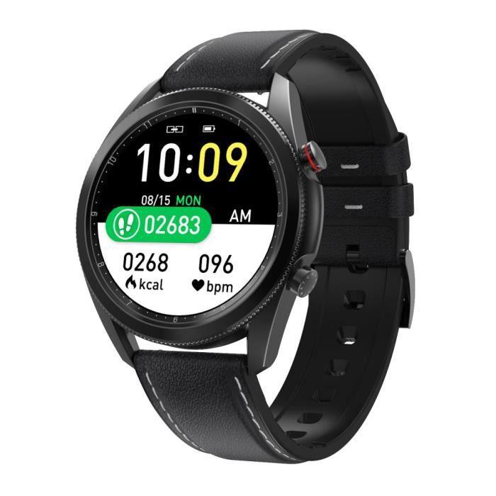 Montre Connectée Homme pour IOS Android, Sport Montre étanche, ECG d'appel Bluetooth Montre Moniteur de Sommeil Pédomètre, Noir Cuir