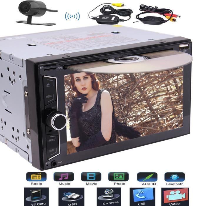 EinCar Audio Double Din, écran tactile, Bluetooth, DVD - CD - USB - SD AM - FM RDS Autoradio stéréo, numérique 6.2inch capacitif