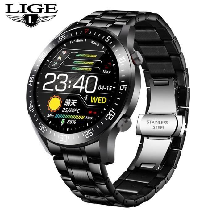 Montre connectée,LIGE 2020 mode plein cercle écran tactile hommes montres intelligentes IP68 étanche sport Fitness - Type Black S
