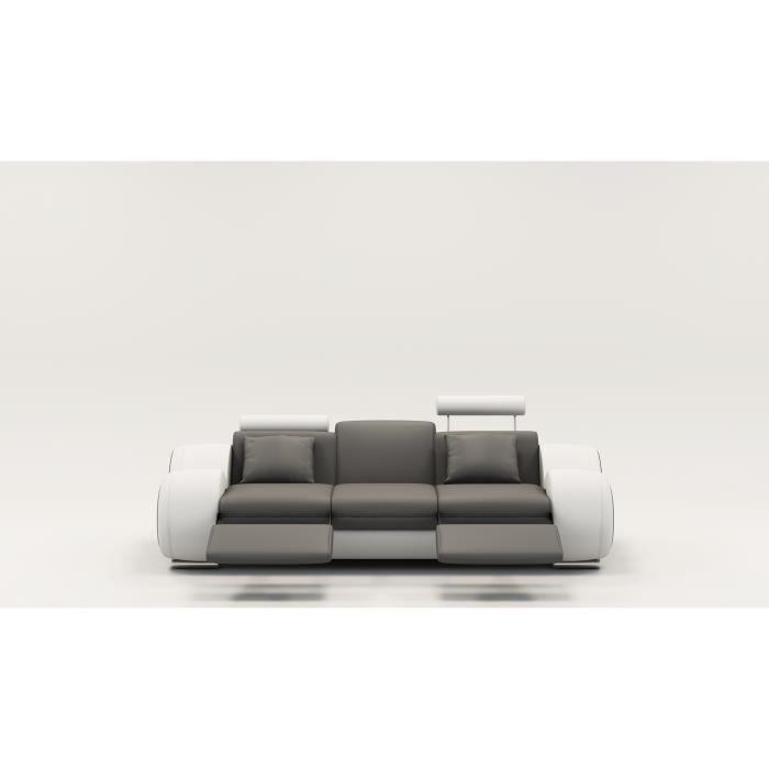 Canapé design 3 places cuir gris et blanc + têtières relax OSLO