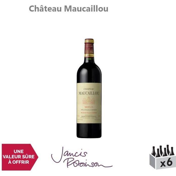 Château Maucaillou Rouge 2015 - Lot de 6x75cl - Appellation AOC Moulis-en-Médoc - Vin Rouge de Bordeaux - 16-20 Jancis Robinson -