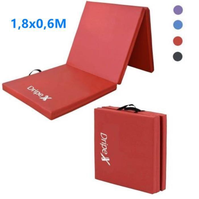 180x60cm Tapis de gymnastique pliable Tapis de Sol, Matelas de Gym Épais et Pliable Rouge