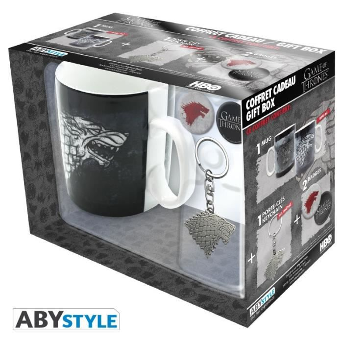 Pack Mug + Porte-clés + Badges Game Of Thrones - Stark - ABYstyle