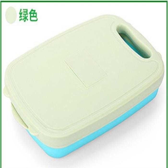 Planche à découper pliante pour plats de cuisine - Planche à découper 9 en 1 panier de vidange plia - Modèle: green - WMCFXGJA09288