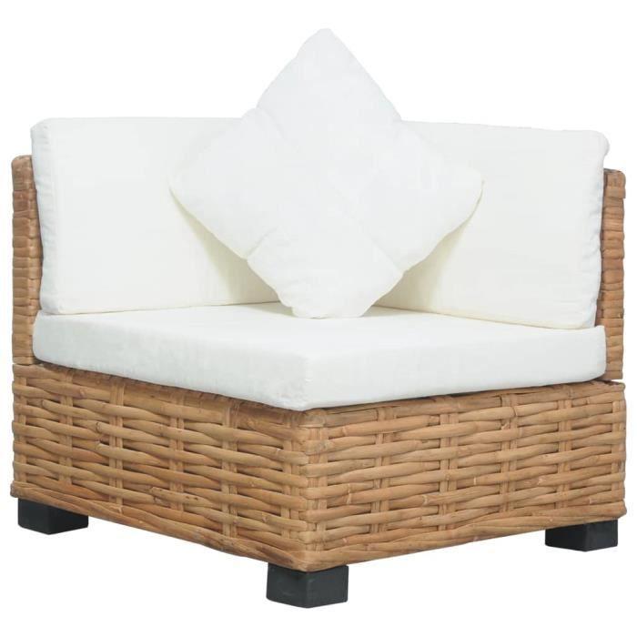 Canapé de jardin palette - Meuble Extérieur - BANQUETTE DE JARDIN- d'angle avec coussins Rotin naturel♫9347