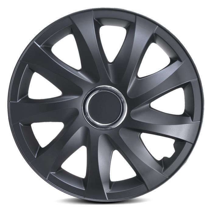 Enjoliveurs de roues Drift noir mat 14- lot de 4 pièces
