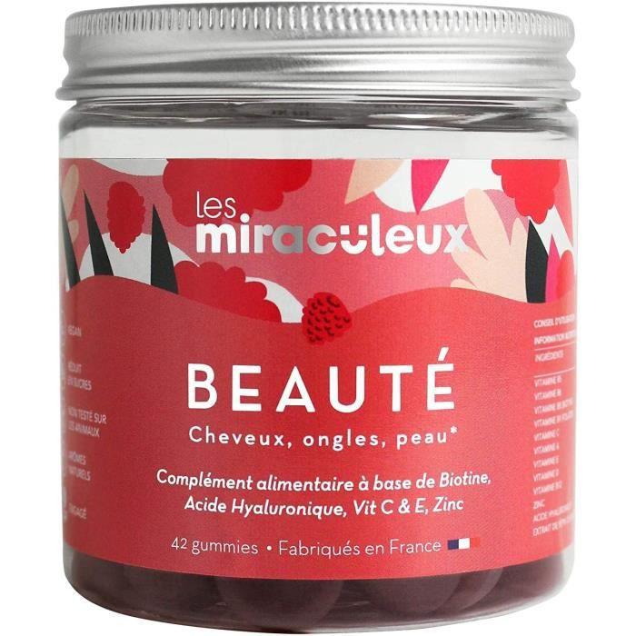 Les Miraculeux - BEAUTÉ CHEVEUX ONGLES PEAU - BOÎTE DÉCOUVERTE - Gummies - Complément Alimentaire Naturel Vegan - Biotine, Vitamine