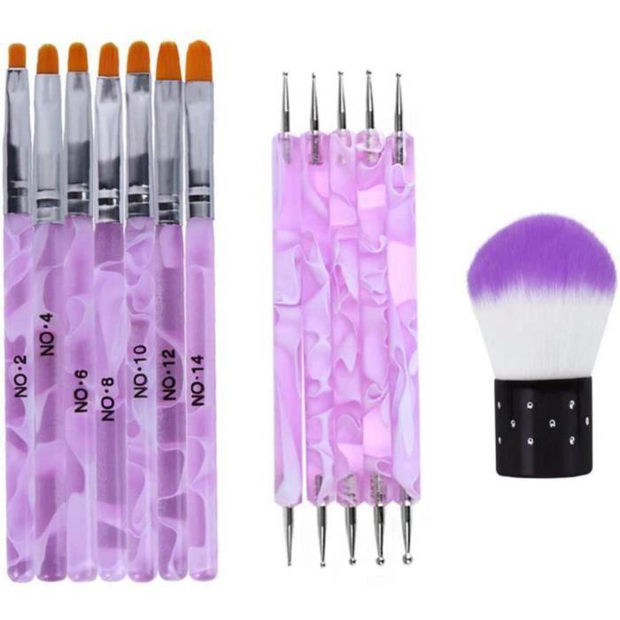 13 PCS Pinceaux Ongles Gel UV Acrylique, Nail Art Brosses Ensemble Outils De Pointillage Pour Nail Arh