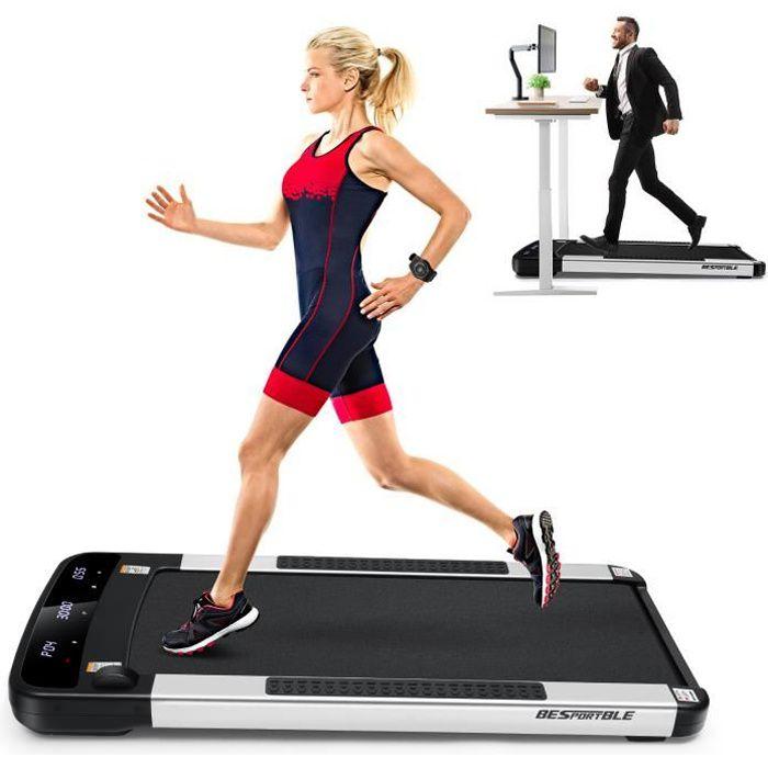 Tapis de marche Tapis de course plat de jogging Machine de course à pied avec roues mobiles lisses pour le bureau à domicile