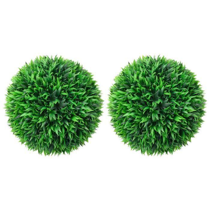 {NEUF6426Lot de 2 Boules de buis artificielles Plante Artificielle intérieur-Extérieur Style Moderne Pour Décor Maison Meuble 47 cm