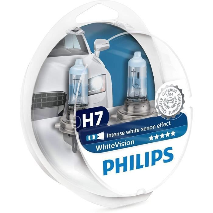 Voiture Led Philips WhiteVision - Ampoule de Phare - Effet X&eacutenon H7 - 12972WHVSM - Paquet de Deux127