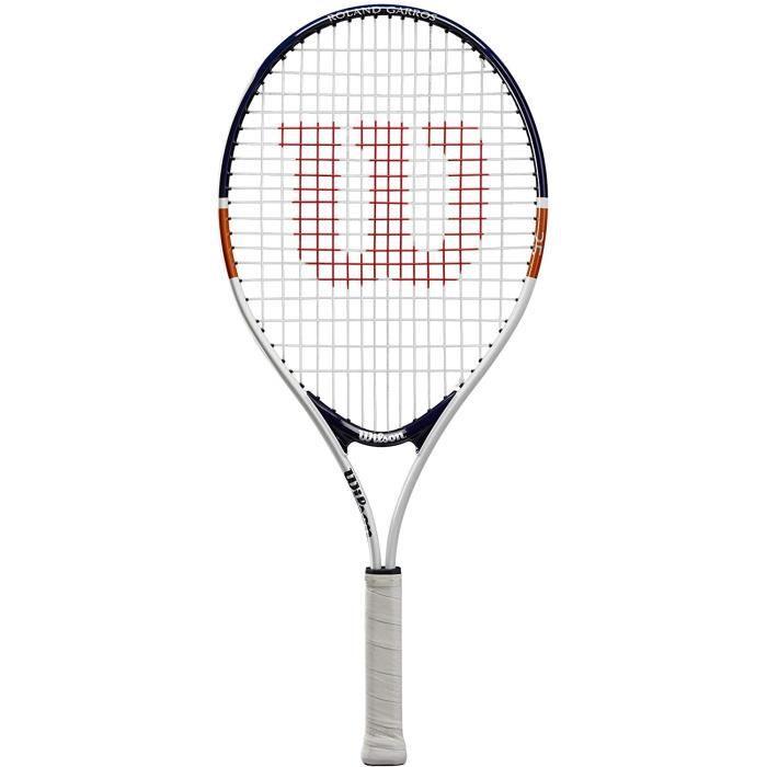 Wilson Raquette de Tennis Roland Garros Elite 25, Pour Enfants de 9-10 Ans, Blanc-Bleu, WR038710H,10