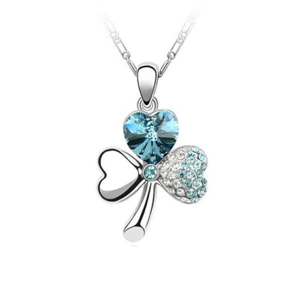 Pendentif Trèfle Cristal de Swarovski Element Bleu Ciel