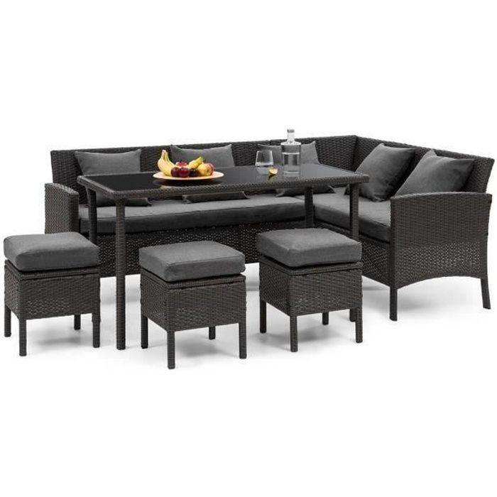 Blumfeldt Titania Lounge Salon de jardin 7 places résine tréssée - table à manger , canapé & 3 poufs - polyrotin noir & gris foncé