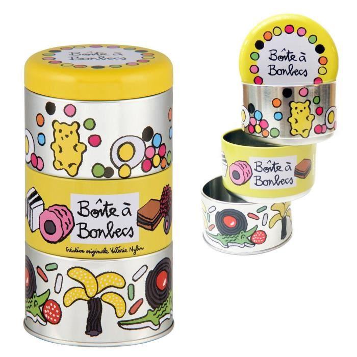 Lot de 3 Boîtes Empilables à Bonbons BONBECS En Métal Jaune - Cuisine Conservation Rangement - Valérie Nylin DLP Derrière La Porte