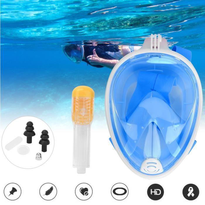 Masque de plongée pour adultes en silicone liquide tout pour le visage complet anti-buée pour Gopro (bleu S-M)