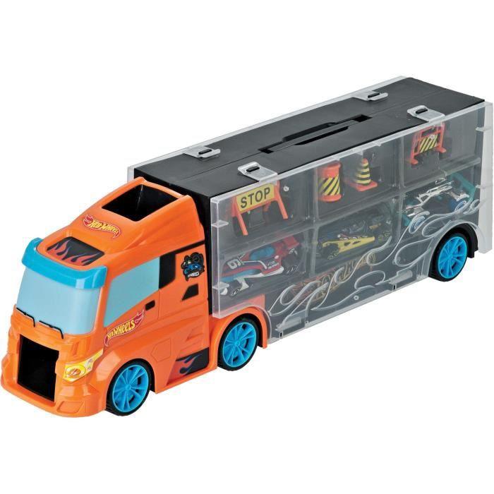TOYS AND FUN Camion HOT WHEELS 40 cm et 3 voitures + accessoires de signalisation Pour Enfant