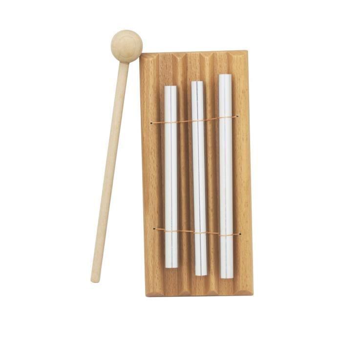 Carillon de percussion 3 sons Instruments De Musique avec Percussion Couleur d'argent