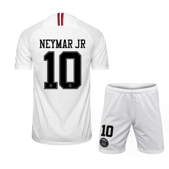NEYMAR JR NO.10 Ligue des Champions Paris 19-20AJ Jersey Adulte Maillots Foot et Shorts de football Homme-Blanc