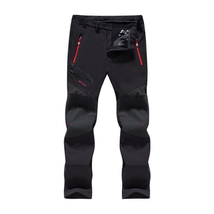 Pantalon Softshell Homme Femme Doublée Polaire Hiver Imperméable Pantalons Couples Trekking Sport de Montagne Randonnée Coupe-Vent