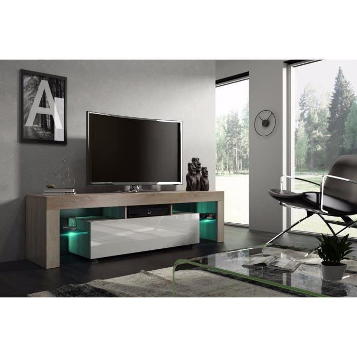 Meuble tv 160 cm chêne MDF et Blanc laqué avec led