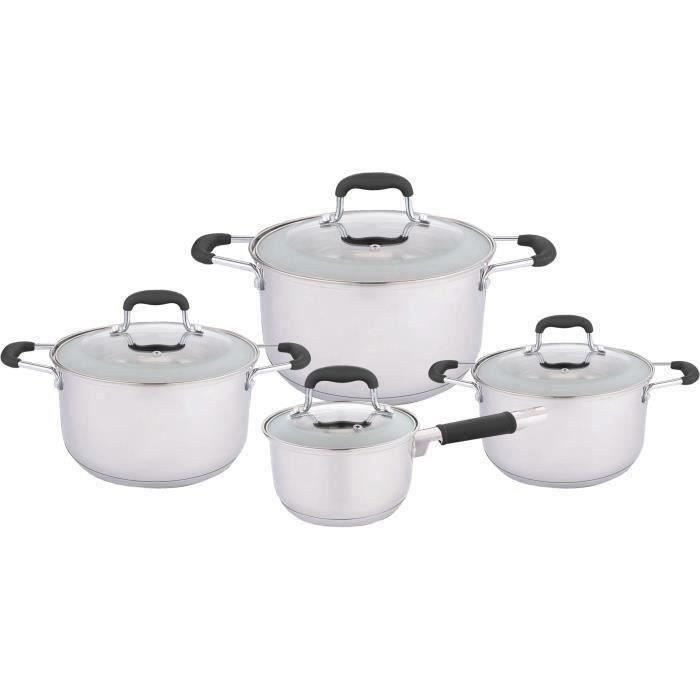 NAPOLEON NAP00153 - Batterie de cuisine 4 pièces : 3 faitouts + casserole - Acier inoxydable - Noir