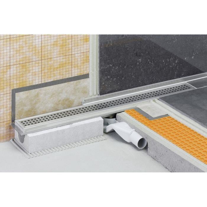 Caniveau pour douche à l italienne sortie horizontale KERDI-LINE-F - Kit de caniveau en acier inox longueur 70cm hauteur 40cm