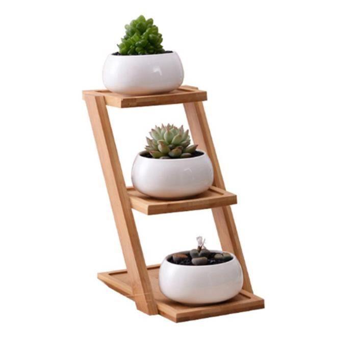 1 Lot Pot de Fleurs en c&eacuteramique avec 3 Niveaux pour Pots de Succulents, &eacutetag&egravere d&eacutecorative pour la