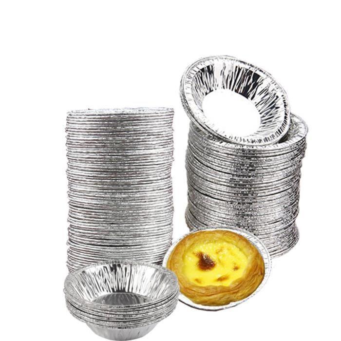 Lot de 50 moules jetables en aluminium pour muffins, madeleines, tartelettes, etc. Argenté
