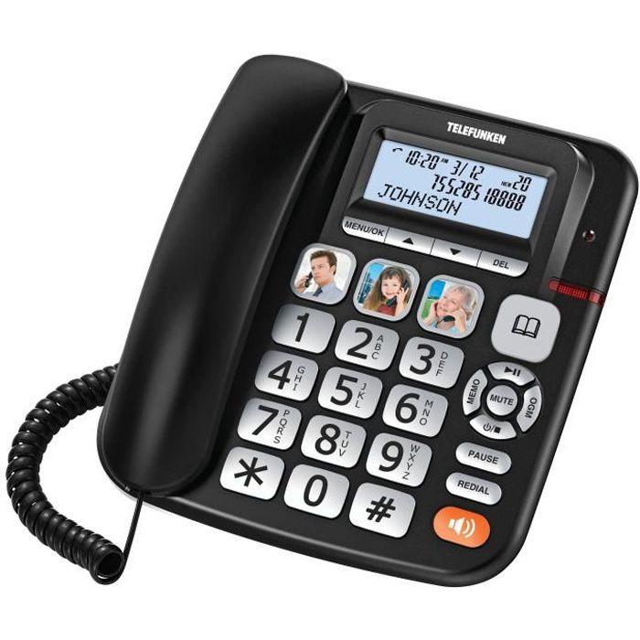 TELEFUNKEN TELEPHONE FIXE FILAIRE REPONDEUR SENIOR GROSSE TOUCHE COMPATIBLE APPAREIL AUDITIF TOUCHES PHOTOS ET ECRAN MAINS LIBRES T