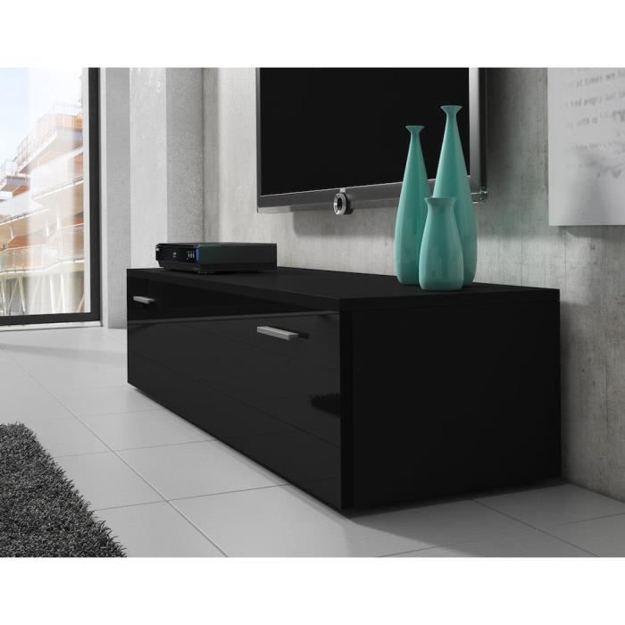 meuble tv 150 cm en mdf noir mat porte laqu e achat vente meuble tv meuble tv 150 cm en mdf. Black Bedroom Furniture Sets. Home Design Ideas