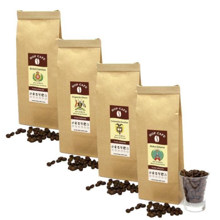 CAFÉ Pack Découverte Café en grains Doux - 4 x 250g