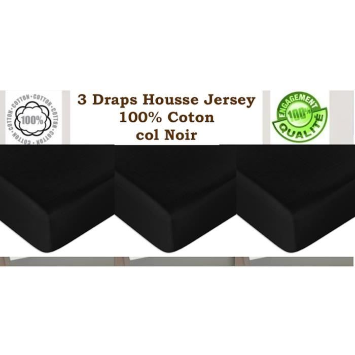 3 draps housse jersey noir 160 x 200cm 100 coton douceur. Black Bedroom Furniture Sets. Home Design Ideas