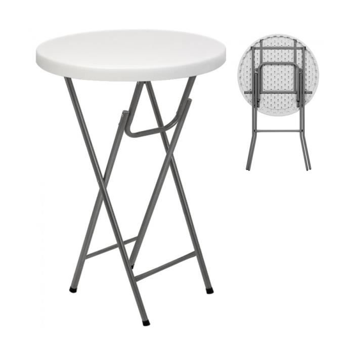 superbe table bistrot pliante ronde blanc table manger pliable 110x80cm achat vente table a. Black Bedroom Furniture Sets. Home Design Ideas