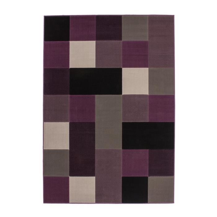tapis de salon dessin carreau moderne 10 mm pourpre gris. Black Bedroom Furniture Sets. Home Design Ideas