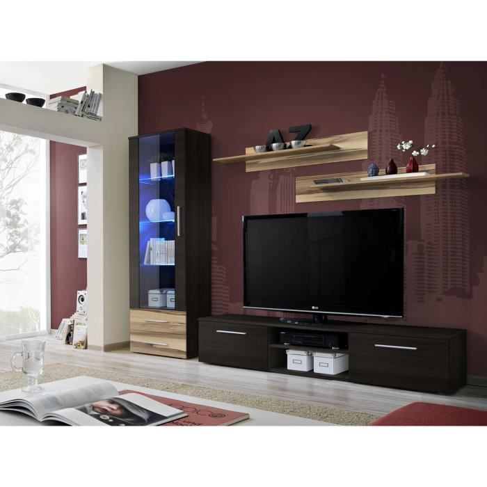 Meuble de salon tv gali a complet design led achat vente meuble tv meub - Meuble salon complet ...