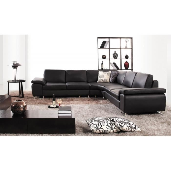 canap d 39 angle design en cuir noir mathias achat vente canap sofa divan cuir bois. Black Bedroom Furniture Sets. Home Design Ideas